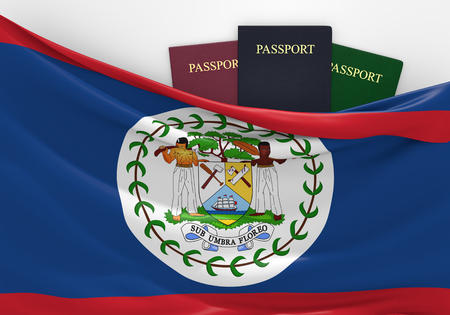 tourism in belize: Travel and tourism in Belize, with assorted passports