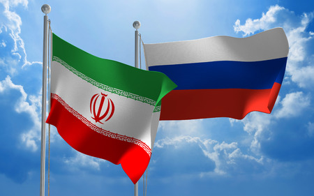 conversaciones: Iran and Russia flags flying together for diplomatic talks