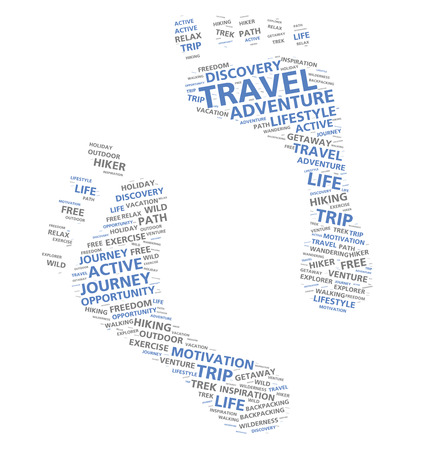 getting away from it all: Footprints word cloud based on adventure and foot travel Stock Photo