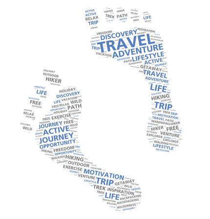 huella pie: Huellas nube de palabras basado en el turismo de aventura y el pie