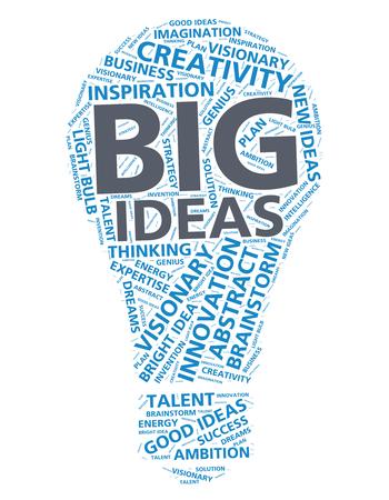 idea bulb: Word cloud for big ideas and innovation in the shape of a light bulb