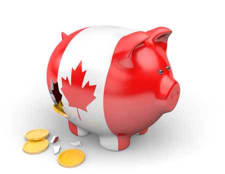 canadian coin: Canada economy and finance concept for GDP and national debt crisis Stock Photo