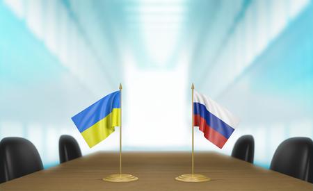 conversaciones: Ucrania y Rusia las relaciones y las negociaciones comerciales de acuerdo representación 3D Foto de archivo