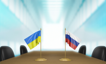 relations: Ukraine and Russia relations and trade deal talks 3D rendering