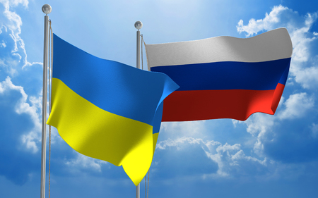 diplomatic: Ukraine and Russia flags flying together for diplomatic talks