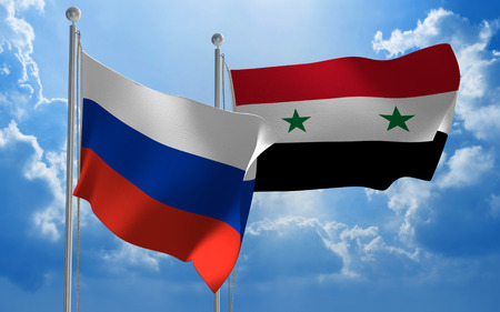 conversaciones: Russia and Syria flags flying together for diplomatic talks