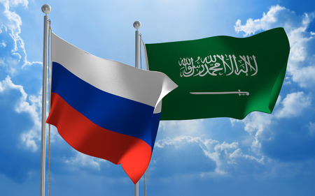 foreign nation: Russia and Saudi Arabia flags flying together for diplomatic talks Stock Photo