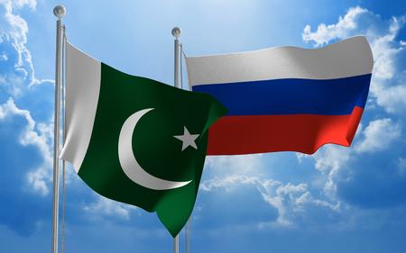conversaciones: banderas de Paquistán y Rusia volando juntos para mantener conversaciones diplomáticas Foto de archivo