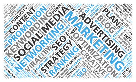 backlink: Social media marketing word cloud for content promotion Stock Photo