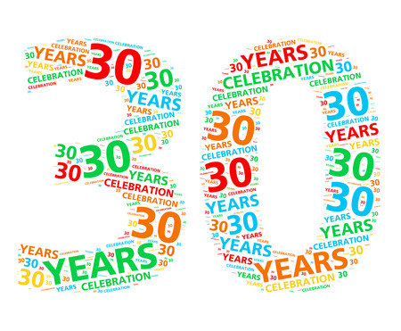 30th: Colorful word cloud for celebrating a 30 year birthday or anniversary Stock Photo
