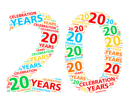 Colorful word cloud for celebrating a 20 year birthday or anniversary
