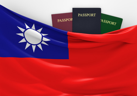 overseas visa: Travel and tourism in Taiwan, with assorted passports Stock Photo
