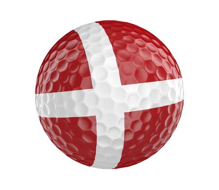 denmark flag: Golf ball 3D render with flag of Denmark, isolated on white