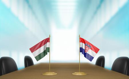 conversaciones: Hungría y Croacia relaciones y acuerdo comercial habla representación 3D