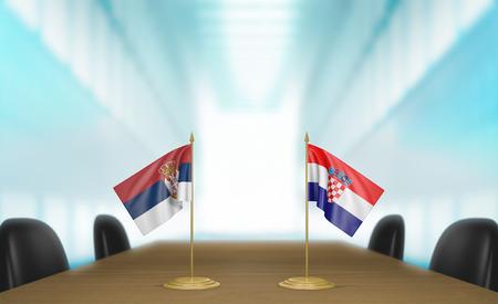 conversaciones: Serbia y Croacia relaciones y acuerdo comercial habla representaci�n 3D Foto de archivo