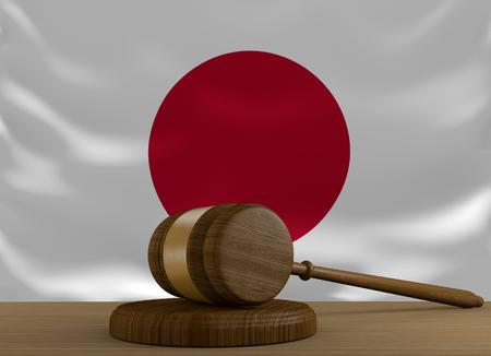 orden judicial: sistema de derecho y la justicia Japón con la bandera nacional