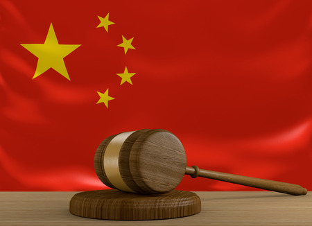 China law and justice system with national flag