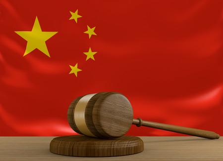 orden judicial: China, sistema de derecho y la justicia con la bandera nacional