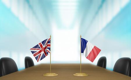 conversaciones: y las relaciones acuerdo comercial Reino Unido y Francia conversa representación 3D