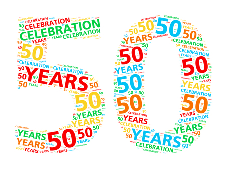 the fiftieth: Colorful word cloud for celebrating a 50 year birthday or anniversary