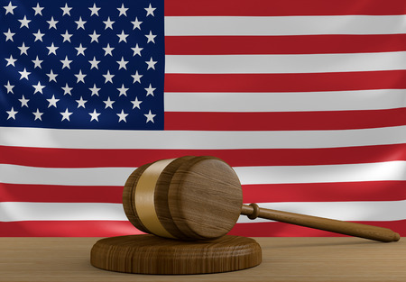 us flag: United States law and justice system with national flag