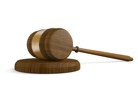 bill of rights: Wood court gavel and striking block on white background