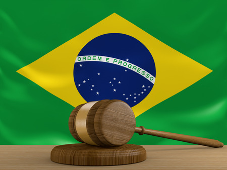 law of brazil: Brazil law and justice system with national flag