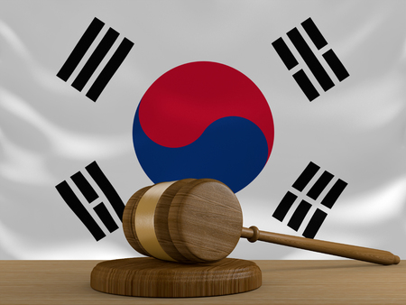 bill of rights: South Korea law and justice system with national flag