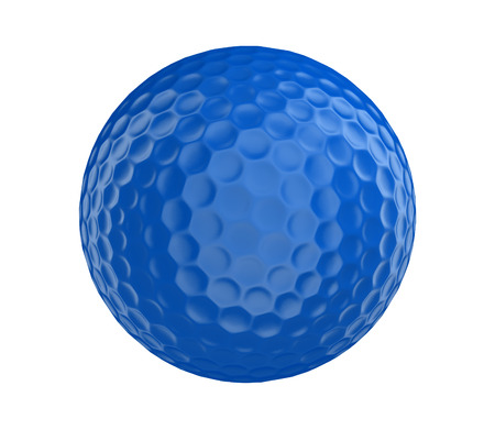 blue ball: Blue golf ball 3D render isolated on a white background Stock Photo