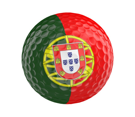 golfball: Golf ball 3D render with flag of Portugal, isolated on white