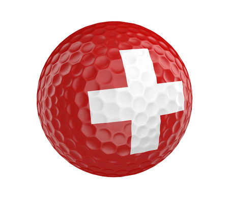 switzerland flag: Golf ball 3D render with flag of Switzerland, isolated on white
