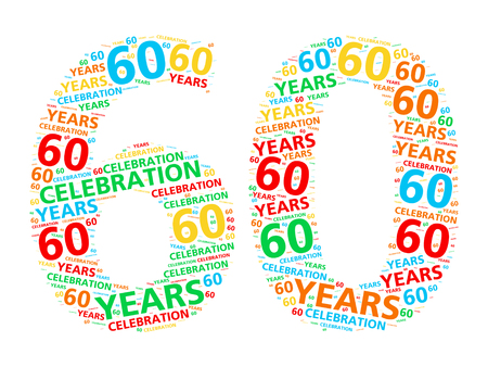 sixtieth: Colorful word cloud for celebrating a 60 year birthday or anniversary