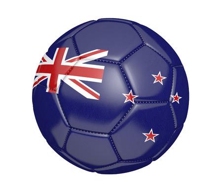 bandera de nueva zelanda: El fútbol, ??también conocido como un balón de fútbol, ??con los colores de la bandera nacional de Nueva Zelanda Foto de archivo