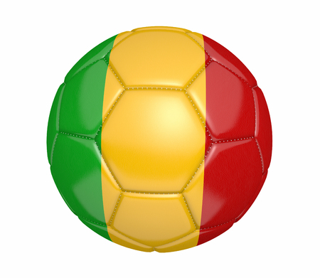 mali: Football, also known as a soccer ball, with the national flag colors of Mali