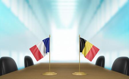conversaciones: Francia y relaciones y acuerdo comercial B�lgica habla representaci�n 3D