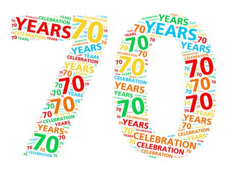 70 년 생일이나 기념일을 축하하기위한 다채로운 단어 구름