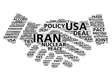 to deal with: United States and Iran nuclear deal agreement word cloud in shape of handshake
