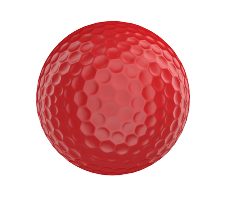 Red golf ball 3D render isolated on a white background