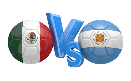 versus: Soccer versus match between national teams Mexico and Argentina Stock Photo