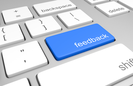 opinion: Feedback key on a computer keyboard for customer opinion Stock Photo