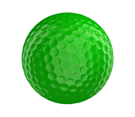ball game: Green golf ball 3D render isolated on a white background
