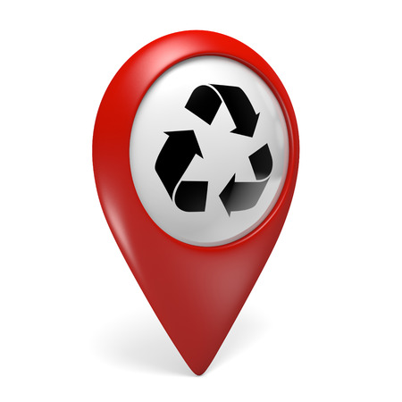 waste 3d: 3D red map pointer icon with a recycling symbol for renewable waste