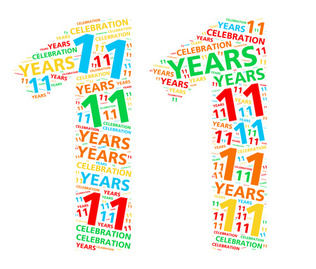 eleventh birthday: Colorful word cloud for celebrating an 11 year birthday or anniversary