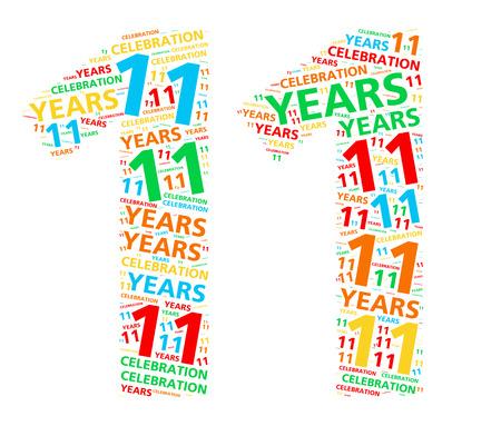 aniversario: Colorida nube de palabras para celebrar un cumpleaños o aniversario 11 años Foto de archivo