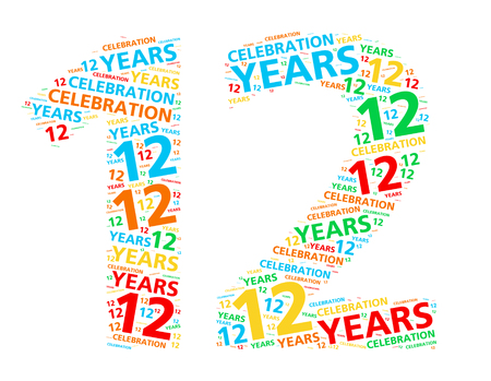 Colorful word cloud for celebrating a 12 year birthday or anniversary Stock Photo