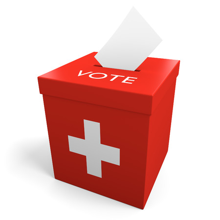 ballot papers: Switzerland election ballot box for collecting votes Stock Photo