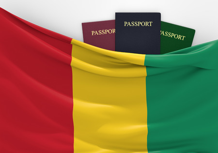 overseas visa: Travel and tourism in Guinea, with assorted passports