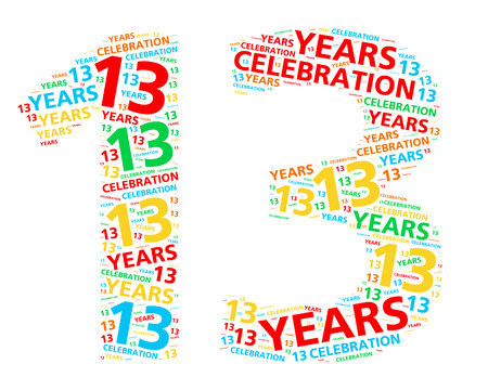 13: Colorful word cloud for celebrating a 13 year birthday or anniversary Stock Photo