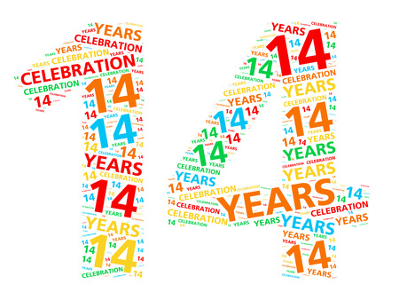 event party festive: Colorful word cloud for celebrating a 14 year birthday or anniversary