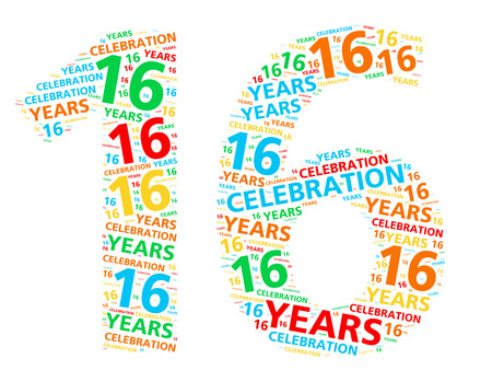 16: Colorful word cloud for celebrating a 16 year birthday or anniversary